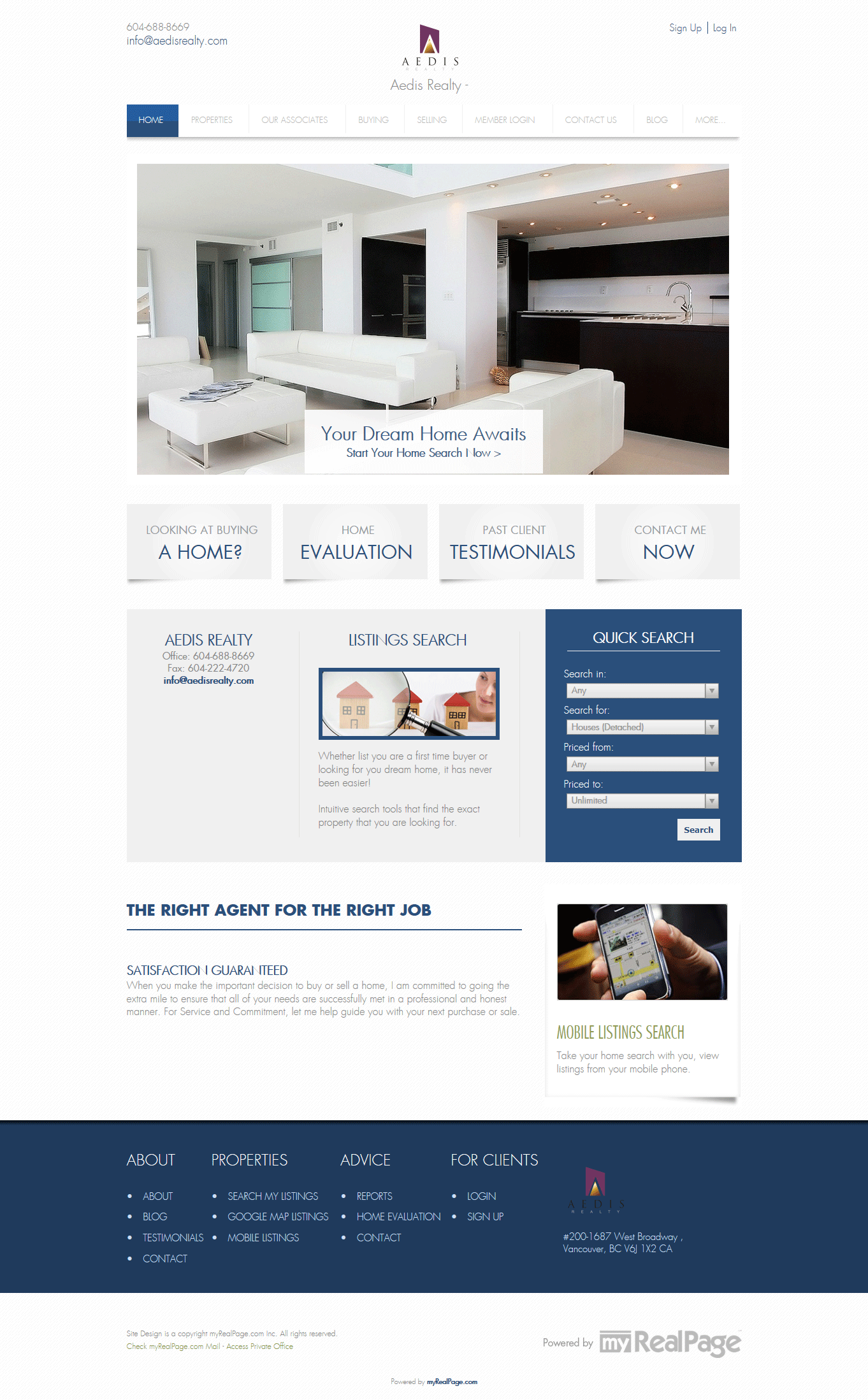 Aedis Realty Site screen shot